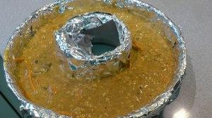 Bizcocho de zanahoria, naranja, canela y avena, listo para el horno