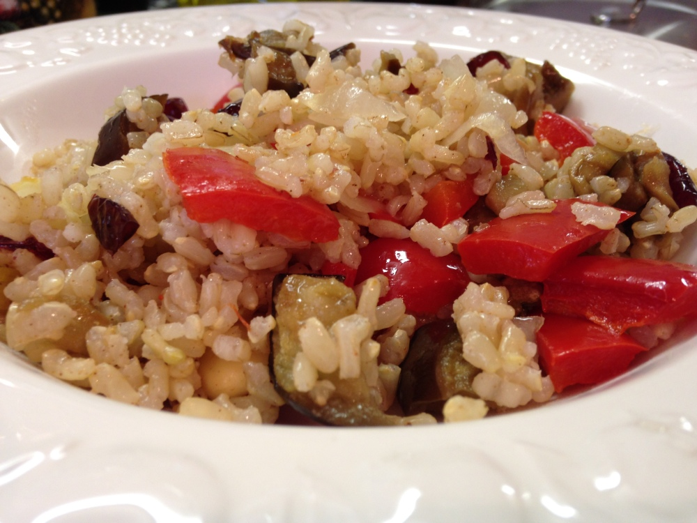Receta vegetariana con arroz integral y canela