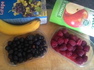 ingredientes para batido de fruta sin azúcar añadido